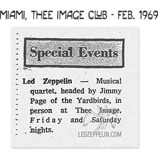 photo of newspaper article about Led Zeppelin at Thee Image